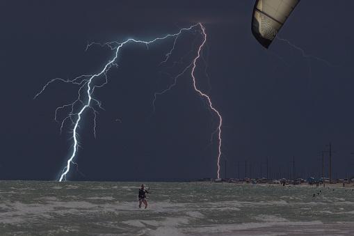 Lightning at sea beach on A thunderstorm cloud