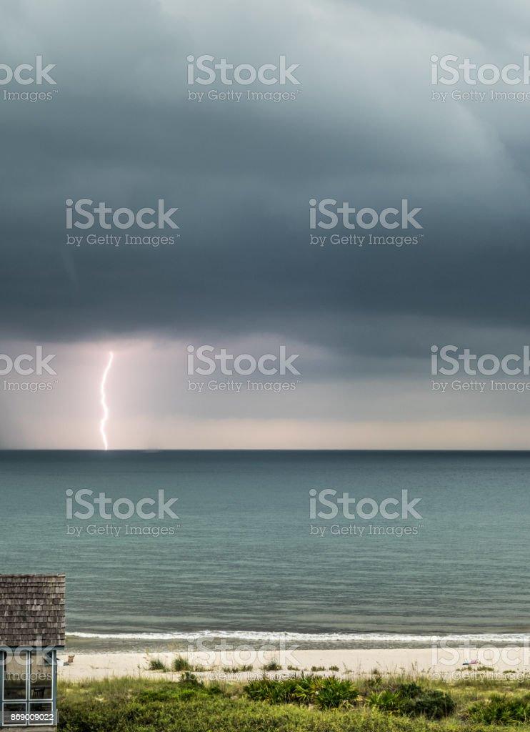 Lightning at Sea stock photo