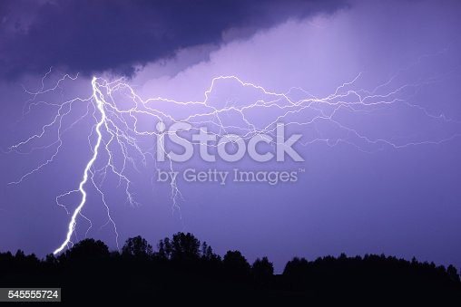 503731700 istock photo Lightning bolt at night 545555724