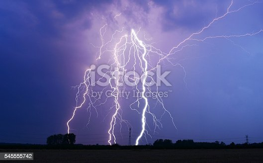 503731700 istock photo Lightning bolt at night 545555742