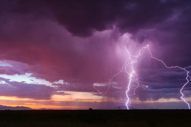 Lightning bolt from a sunset storm. stock photo