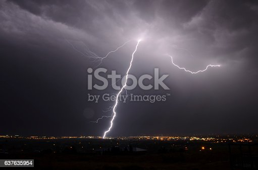 503731700 istock photo Lightning bolt from the heavens 637635954