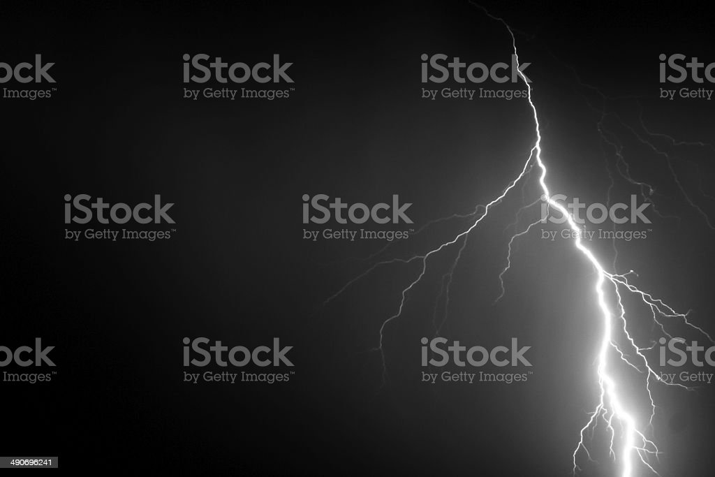 Lightning Bolt in Night Sky royalty-free stock photo