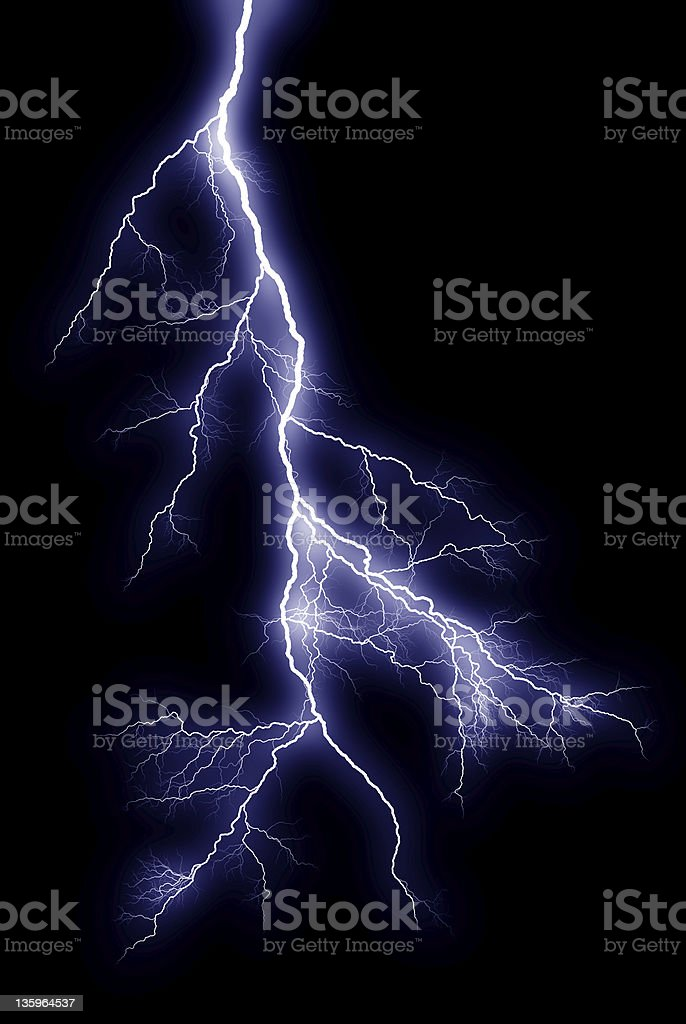 Lightning bolt on black background stock photo