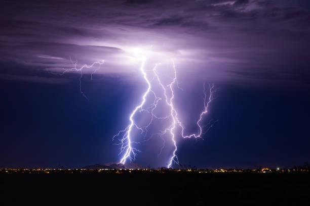 Lightning bolt storm stock photo