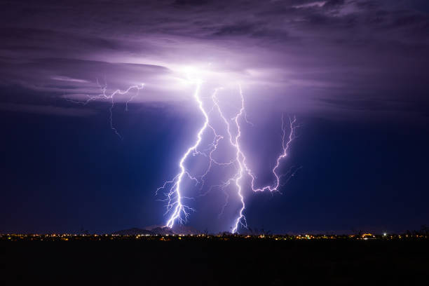 Lightning bolt storm stock photo