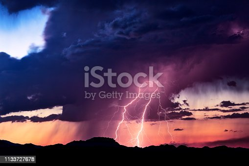 1039163636 istock photo Lightning bolt strike in a storm at sunset. 1133727678