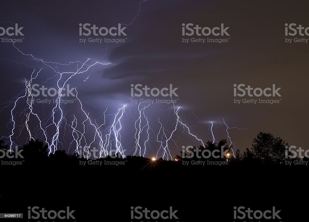 Lightning bolts from a thunderstorm stock photo