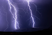 Lightning bolts strike the Superstition mountains during a powerful, monsoon thunderstorm near Phoenix, Arizona.