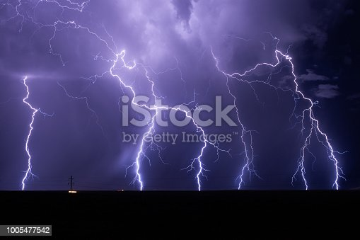 istock Lightning bolts strike from a powerful storm 1005477542