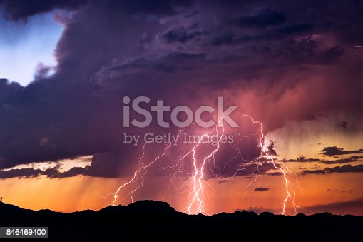 istock Lightning bolts strike from a sunset storm 846469400