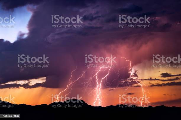 Photo of Lightning bolts strike from a sunset storm