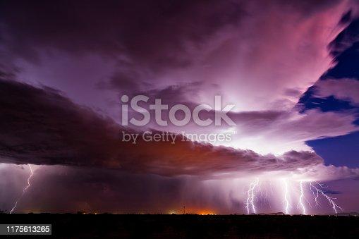 656192770istockphoto Lightning bolts strike from a thunderstorm 1175613265