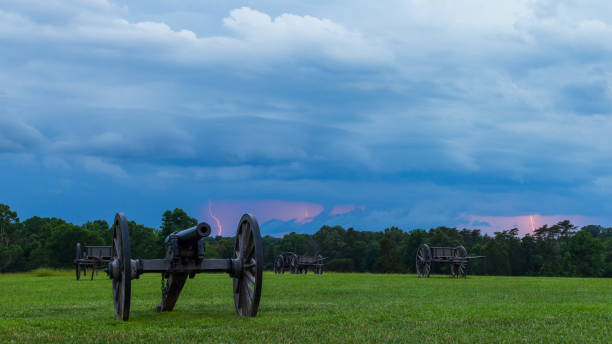 Lightning bolts striking the ground off on the horizon stock photo