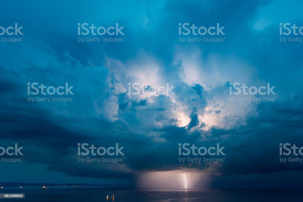 Lightning cloud, Aurisina stock photo