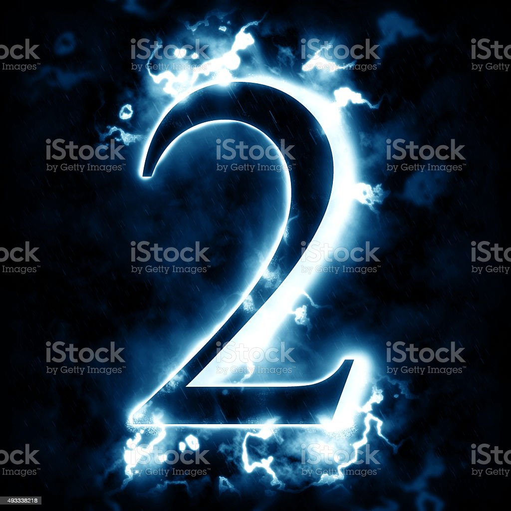 Lightning digit 2 stock photo