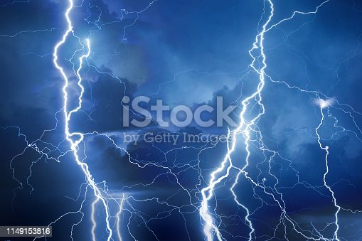 Lightning during storm on a summer night.