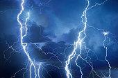 Lightning during storm on a summer night.