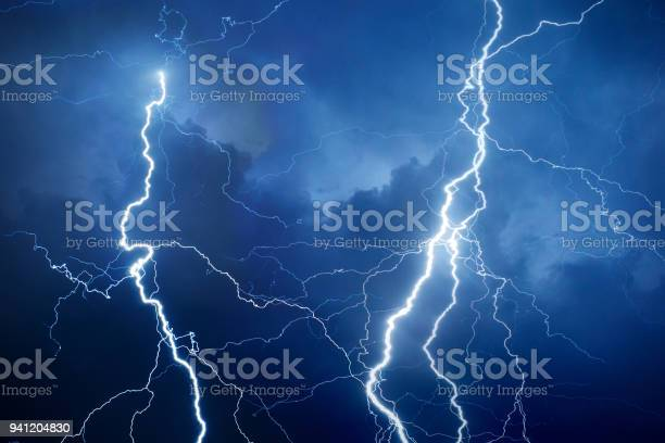 Photo of Lightning during storm at night