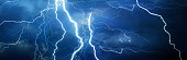 Thunder, lightning and rain during summer storm at night.