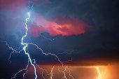 Thunder, lightning and rain during summer storm.