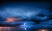Thunder, lightnings and rain during summer storm.