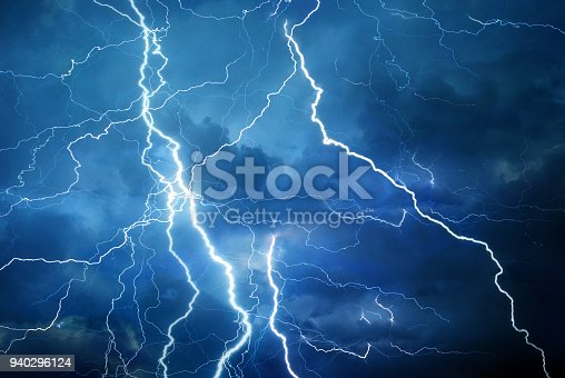 Thunder, lightning and rain during summer storm at night.
