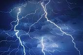 Thunder, lightnings and rain during summer storm at night.