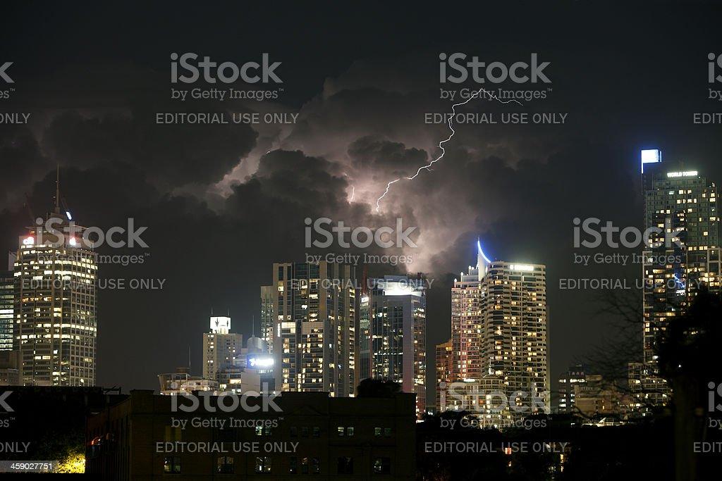 Lightning flash over Sydney skyline royalty-free stock photo