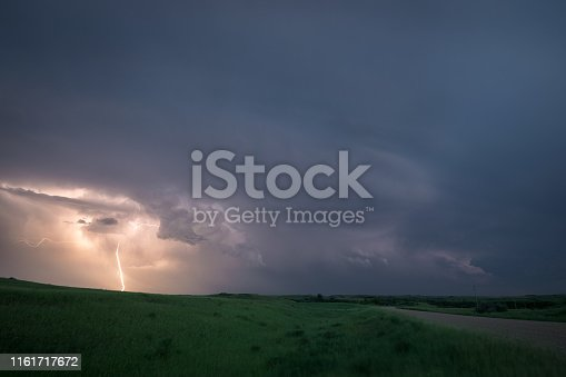 858837068istockphoto Lightning from a supercell thunderstorm over the northern plains, USA during blue hour. 1161717672
