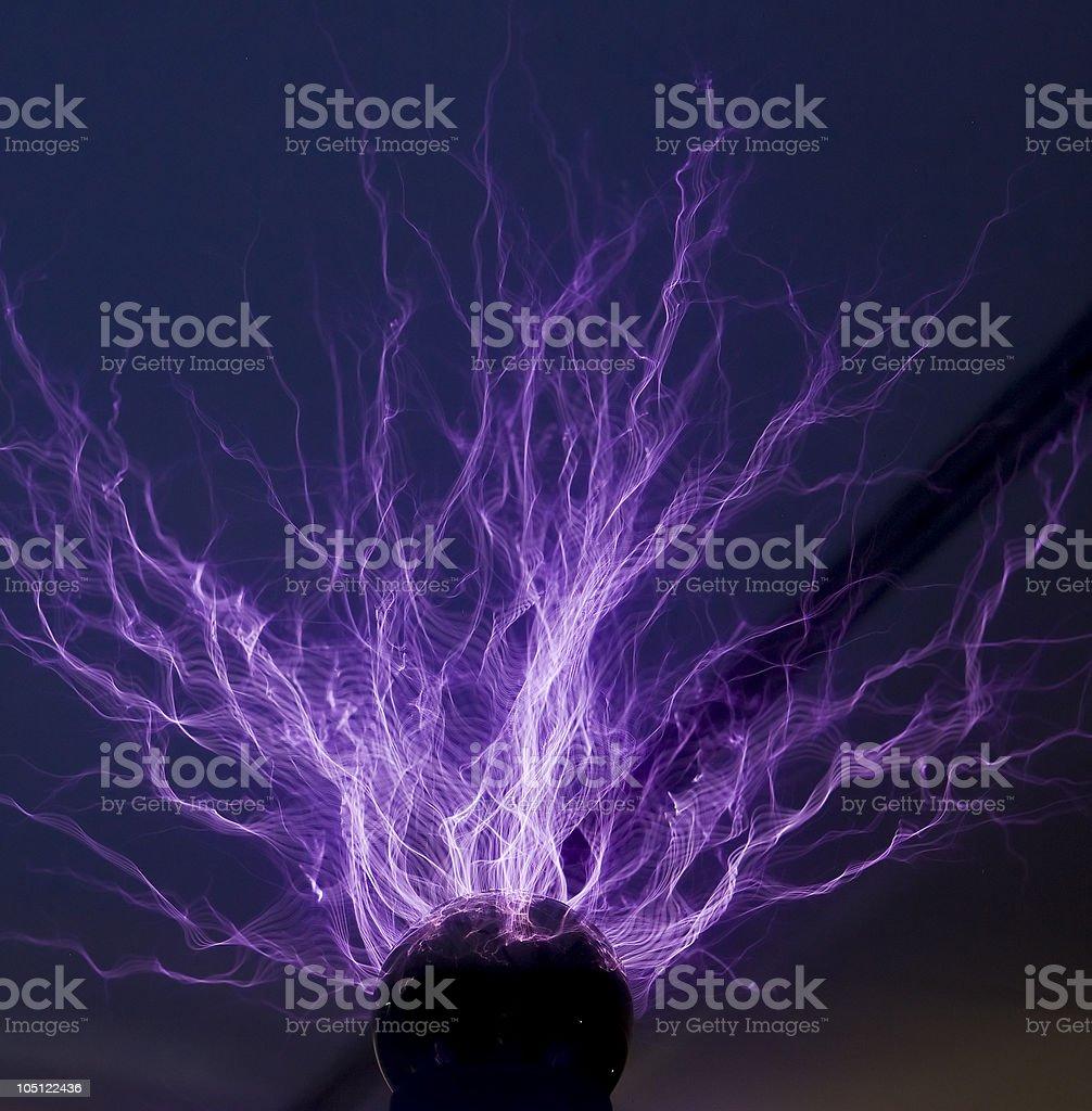 lightning from metal ball stock photo