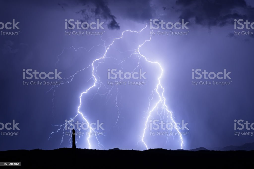 Lightning in a monsoon storm in Phoenix, Arizona stock photo