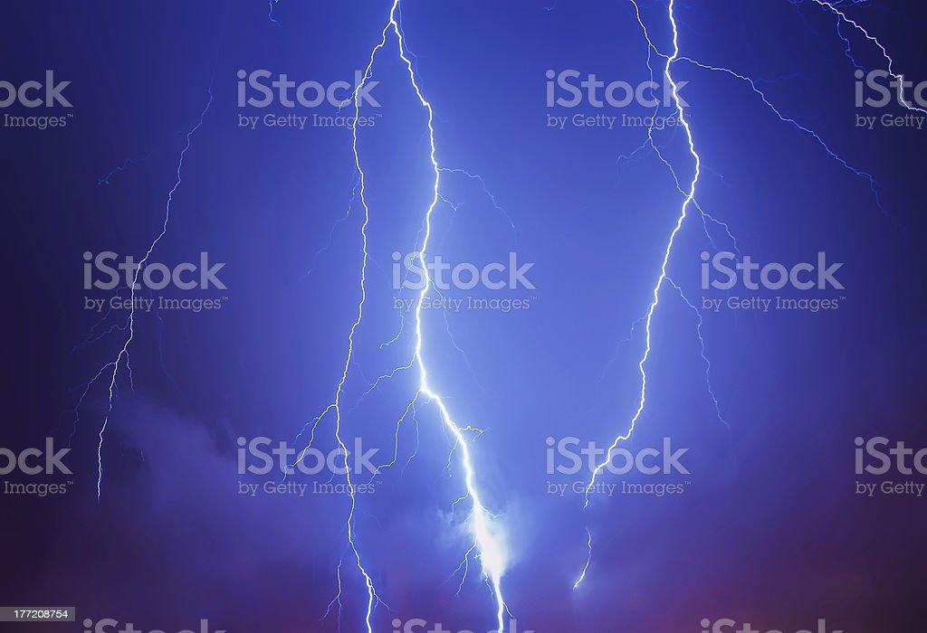 Lightning in a stormy sky stock photo