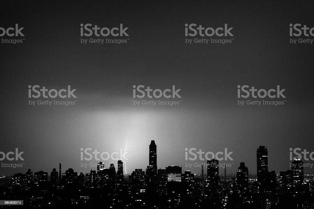 Lightning in Manhattan royalty-free stock photo