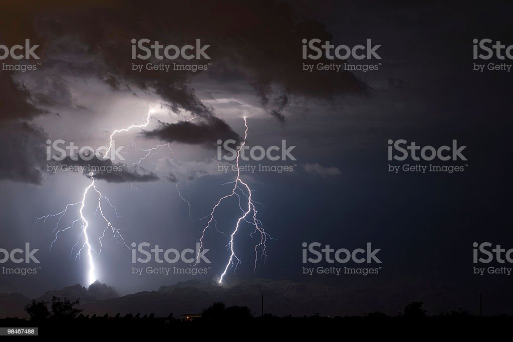 Lightning in the Arizona desert royalty-free stock photo