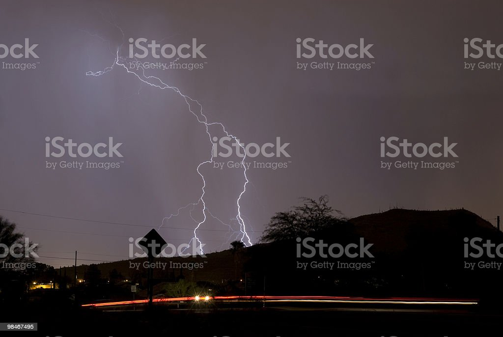 Lightning in the Arizona desert royalty-free stock photo