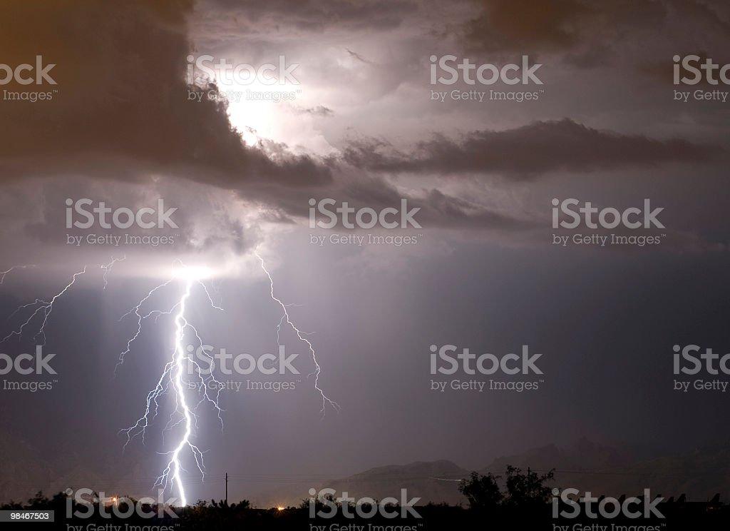 Lightning 있는 애니조나 사막 royalty-free 스톡 사진