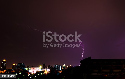 503731700 istock photo Lightning in the city at night. 516180364