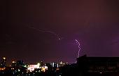 Lightning in the city at night.