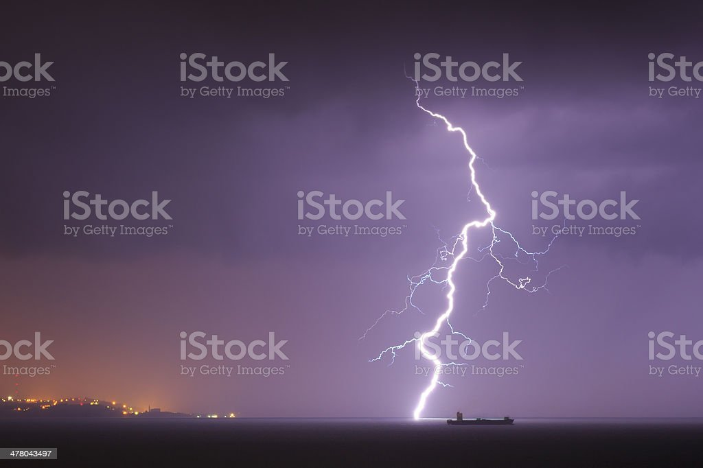 Lightning in the sea stock photo
