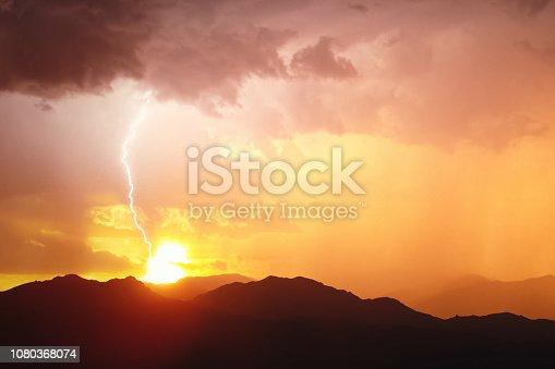 656192770istockphoto Lightning in the sky. Electric discharges in the sky 1080368074