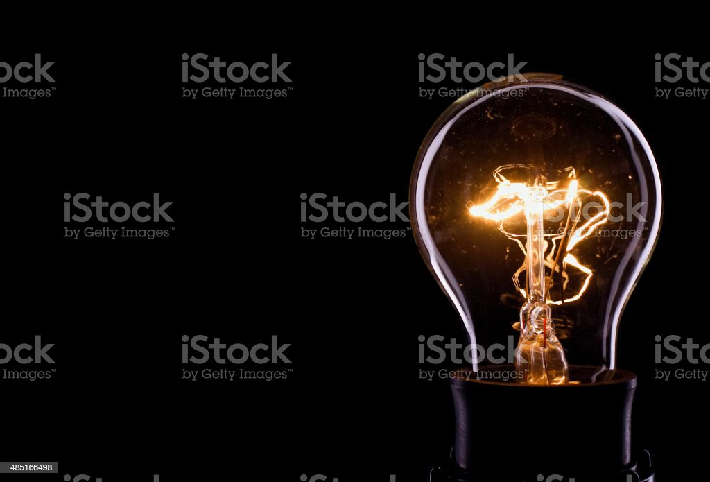 Lightning inside a glass bulb stock photo