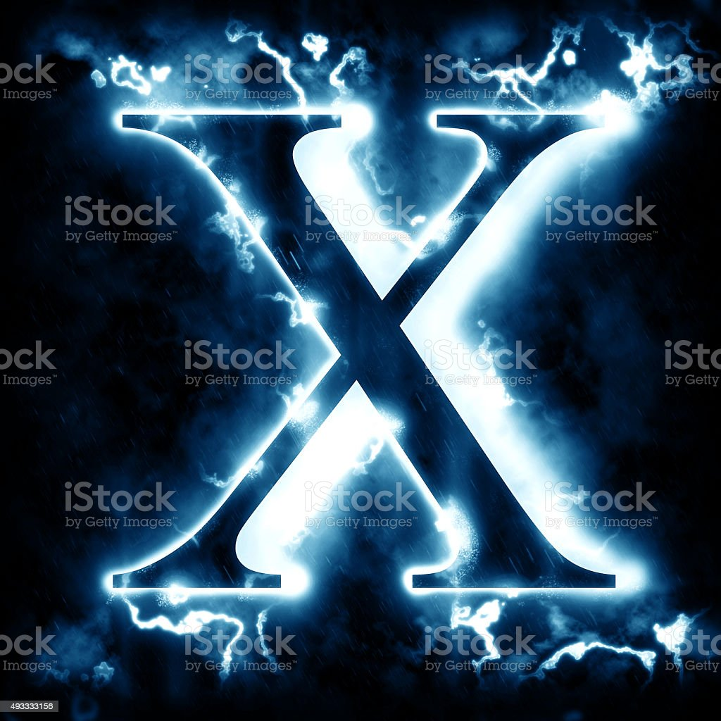 Lightning Letter X Stock Photo - Download Image Now