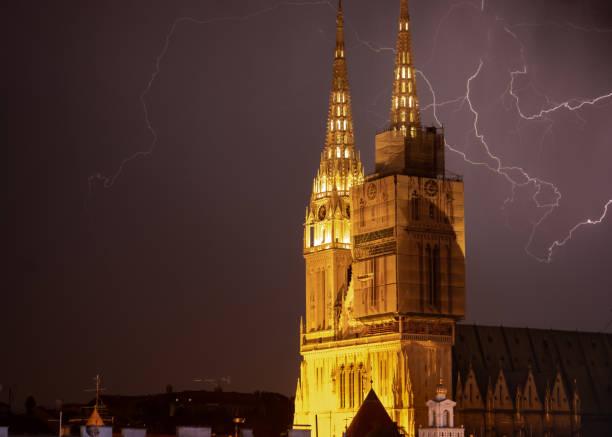 Lightning near Zagreb Cathedral stock photo