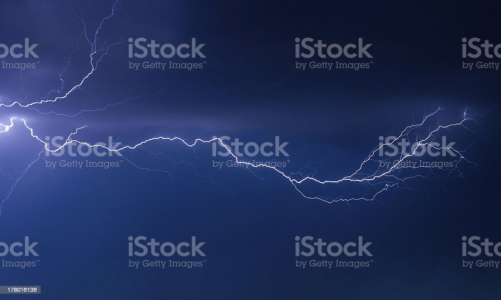 Lightning on night sky royalty-free stock photo