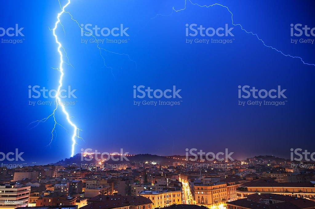 lightning on the city stock photo