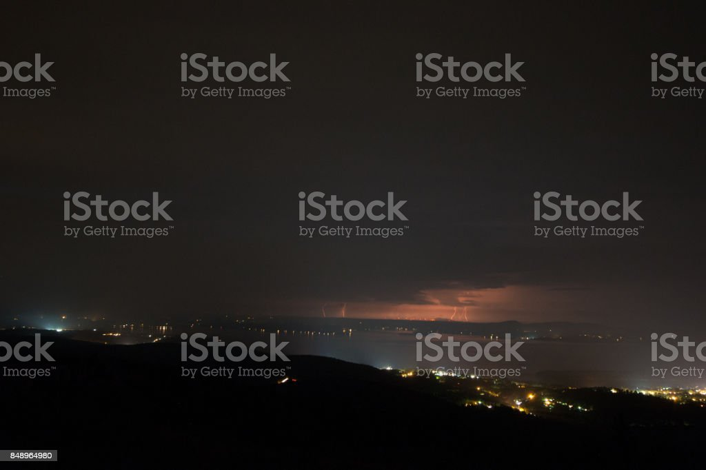 lightning over cadillac mount in acadia national park stock photo