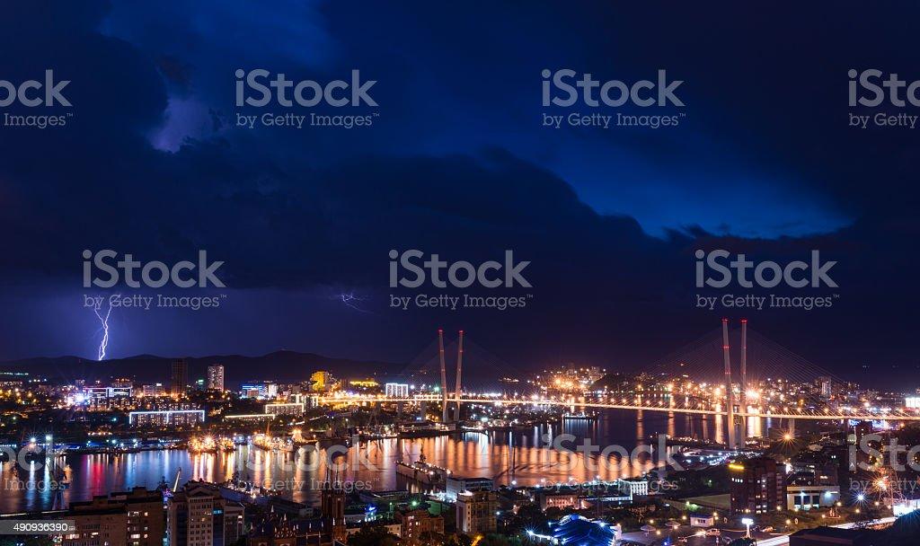 Lightning over city. stock photo