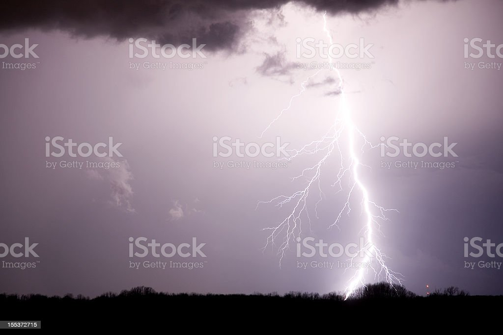 Lightning over field royalty-free stock photo