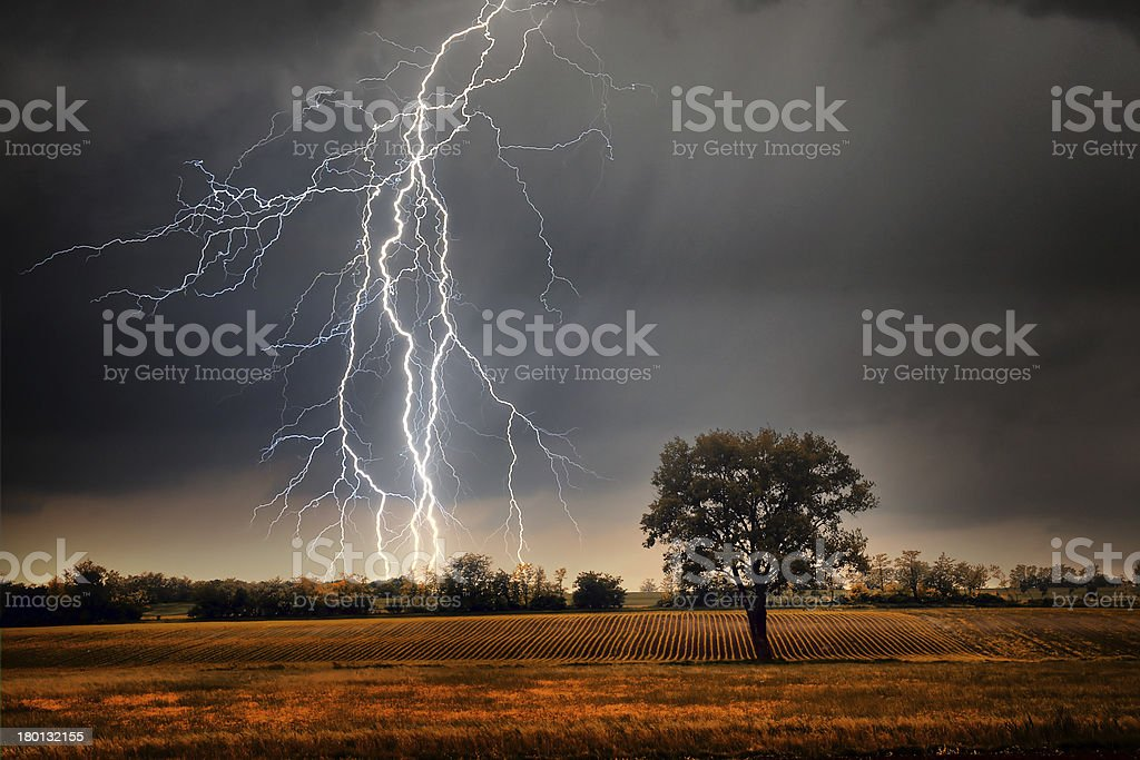 Lightning over field stock photo